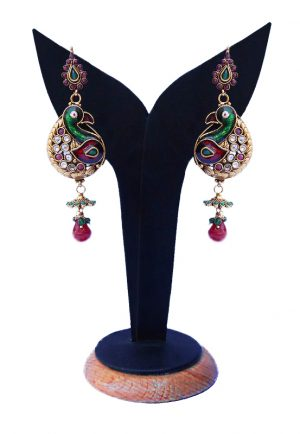 Buy Online Beautiful Peacock Earrings with Red and Green Stones-0
