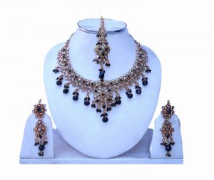 Shop online Beautiful Polki Necklace Set from India with Earrings and Tika-0