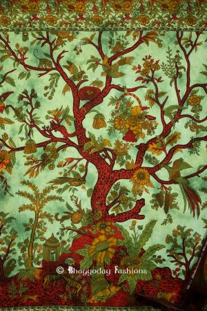 Intricate Tree of Life Indian Print Tapestry in Green and Red Print for Beach Outings-0