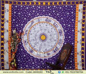 Purple & Orange Hippie Zodiac Tapestry