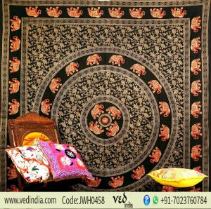 Black Golden Psychedelic Mandala Elephant Beach Tapestry Bedspread-0