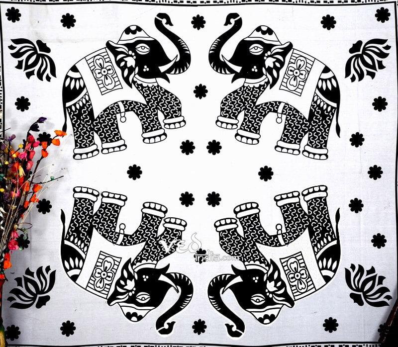 Indian Mandala 4 Elephants Tapestry