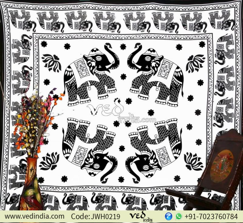 Black and White 4 Elephants Tapestry