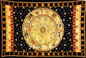 Black & Orange Astrological Tapestry Wall Hanging for Home Decor-0