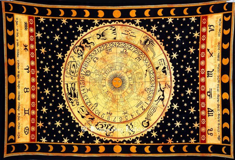 Black & Orange Astrological Tapestry Wall Hanging for Home Decor-0