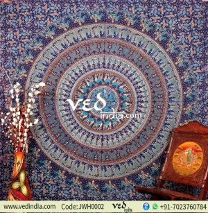 Blue Bohemian Indian Wall Tapestry