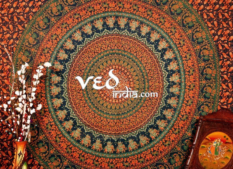 Indian Boho Bedding in Green Print