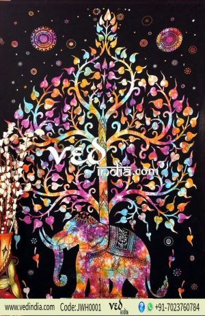 Multicolor Elephant Tree of Life Tapestry