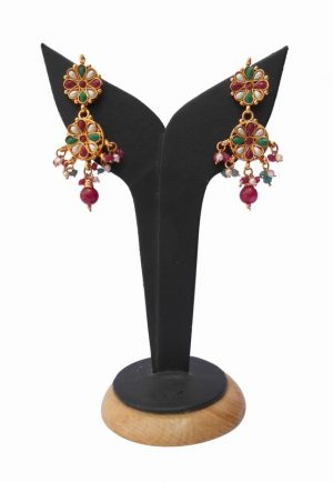 Shop Online Latest Design of Chandelier Earrings in Polki Stone from India-0