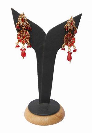 Latest Design Red Color Chandelier Polki Earring for Weddings-0