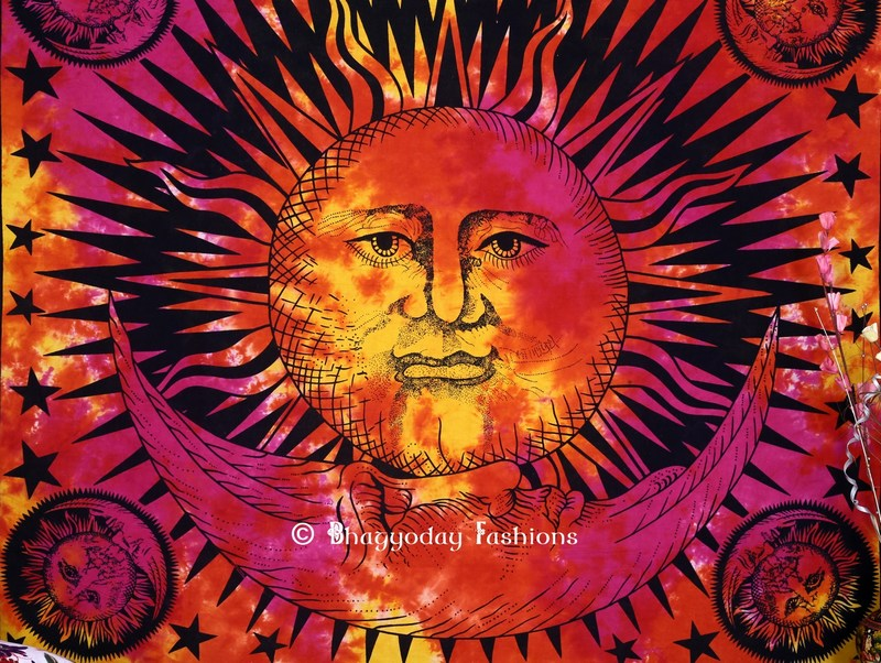 Colorful Sun and Moon Bohemian Tapestry Wall Hanging Bedding -0