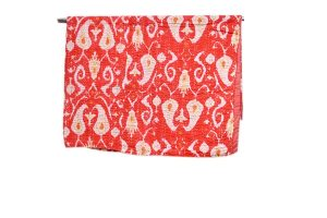 Buy Beautiful Designer Coral Red And White Cotton Bed Sheets-0
