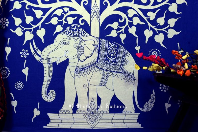 Popular Indian Blue Cotton Elephant Tree Tapestry Wall Hanging for House-1157