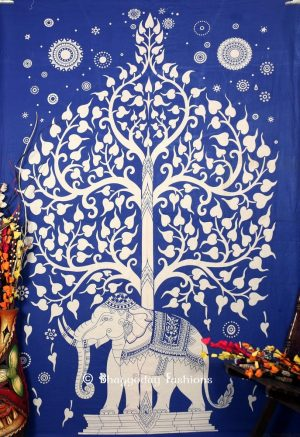 Popular Indian Blue Cotton Elephant Tree Tapestry Wall Hanging for House-0