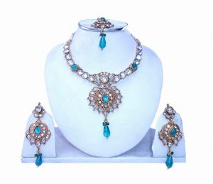 Latest Design Polki Necklace Set with Beautiful Earrings and Tika-0