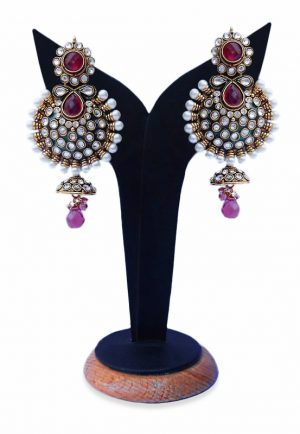 Designer Earrings for Women in Red Stones with Antique Polish-0