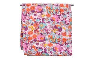 Designer Handmade Bed Sheet With White And Orange Floral Patterns-0