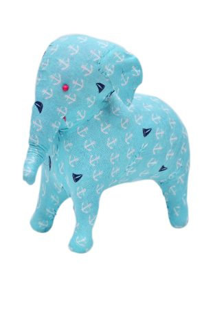 Buy Online Designer Sky Blue Elephant With White Hand Prints-0