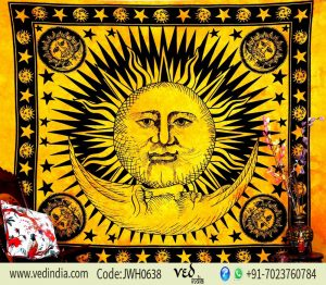 Divine Yellow Sun Moon Cotton Tapestry Wall Hanging Bedspread-0
