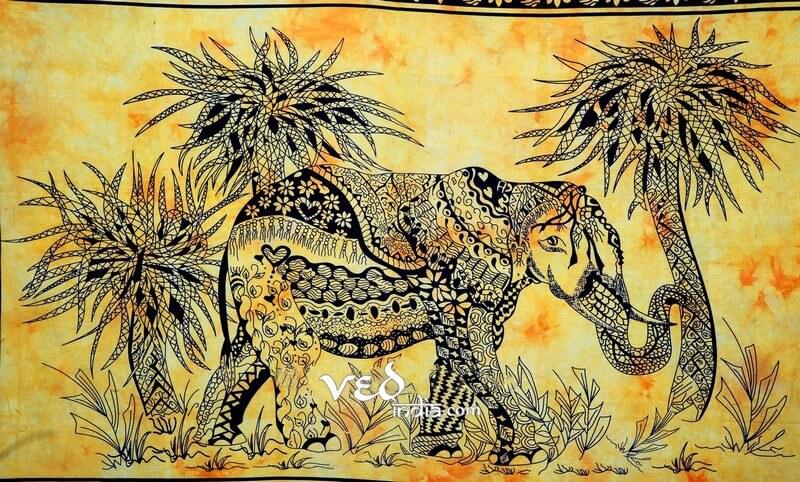 Elephant Tapestry in Yellow Hand Tie Dye