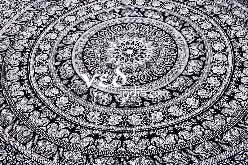 Black & White Elephant Tapestry Bedding