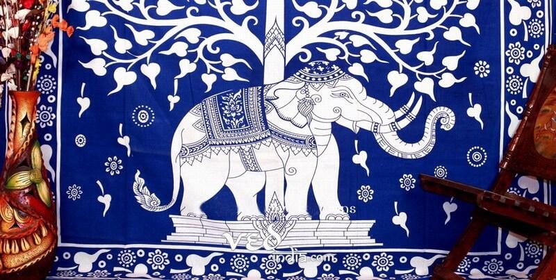 Elephant Tree Of Life Tapestry