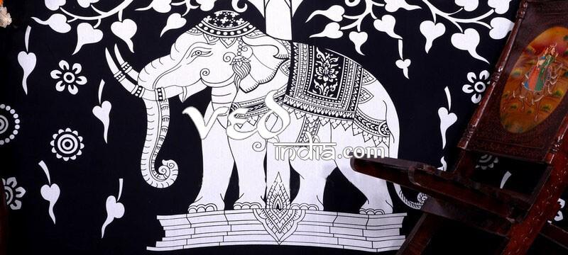 Mandala Tie Dye Elephant Tree Tapestry