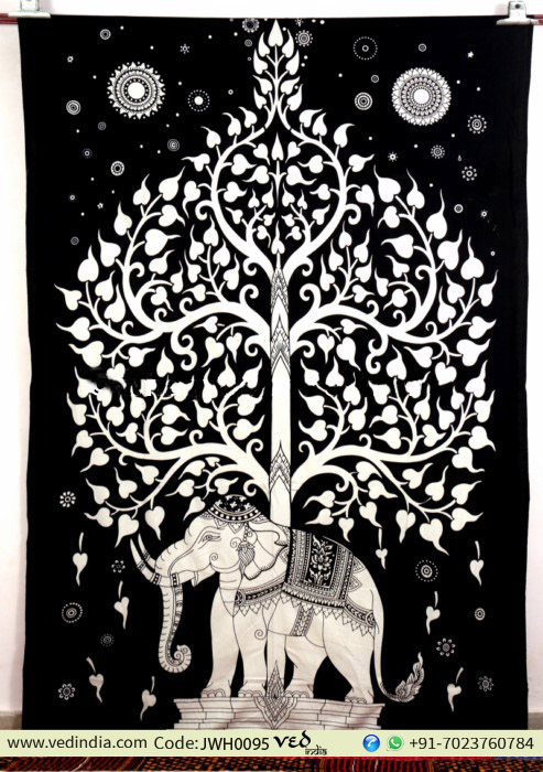 Black and White Elephant Tapestry