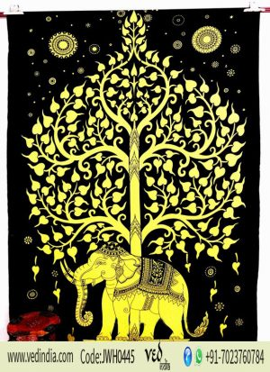 Popular Indian Elephant Tree Temp Tapestry in Yellow Wall Hanging for Living Room-0