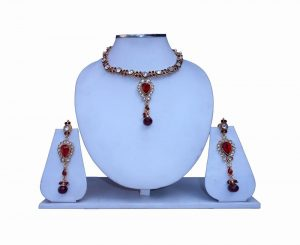 Elegant Semi Precious Stone Necklace Set With Earrings for Party Wear-0