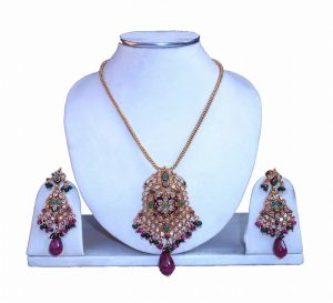 Designer Girls Fancy Pendant Set with Matching Earrings for Special Occasion-0