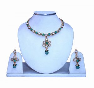 Buy Online Fancy Polki Necklace Set with Earrings from India-0