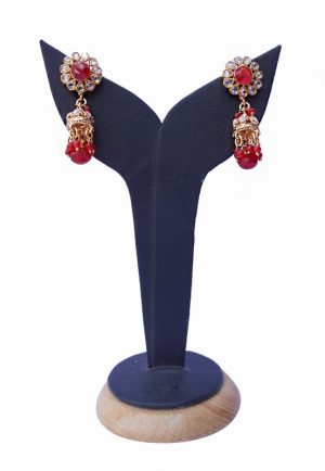 Fashionable Red and White Stones Polki Earrings from India-0