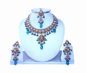 Shop Online Fashionable Polki Necklace Set With Earrings and Tika-0