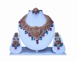 Shop Online Fashionable Polki Necklace Set with Matching Earrings and Tika-0