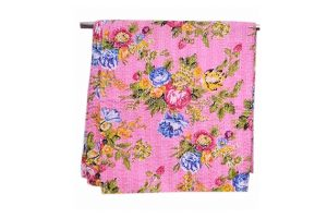Buy Online Bright Pink Floral Handmade Bed Sheets from India-0