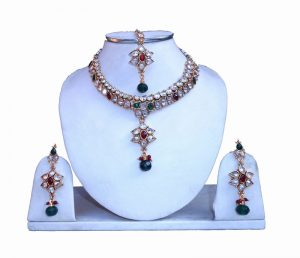 Buy Online Designer Girls Polki Necklace Set With Matching Earrings and Tika-0
