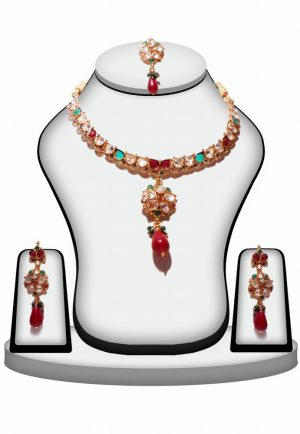 Gorgeous Bridal Polki Pendant Set with Earrings and Tikka in Multi-Color-0