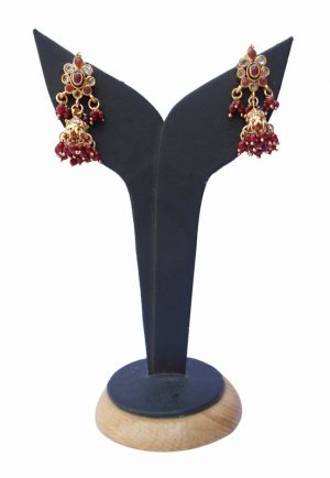 Gorgeous Jhumka Style Designer Earrings from India in Red and White Stone-0
