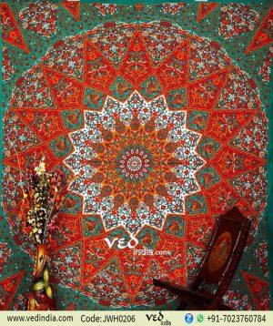 Green and Orange Star Mandala Tapestry