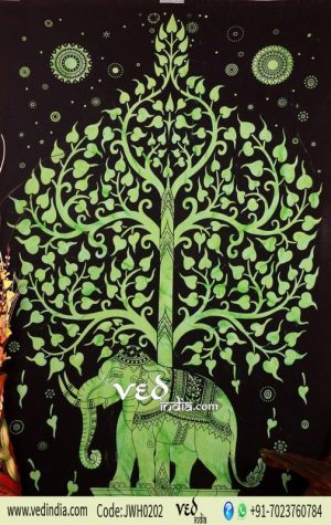 Beautiful Green Elephant Tree Tapestry
