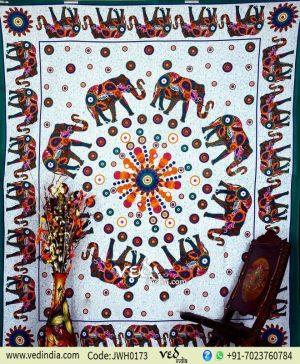 Green Elephant Mandala Tapestry