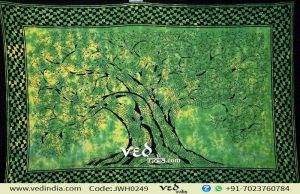 Tree of Life Tapestry in Green Print