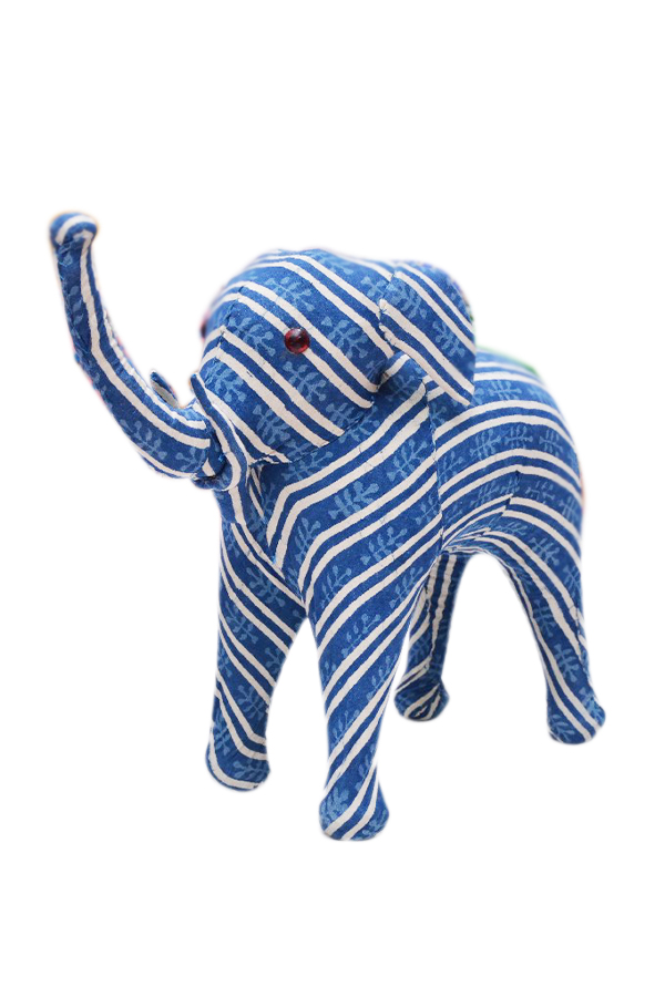 Traditional Home Decorative Elephant With Blue And White Stripes-0