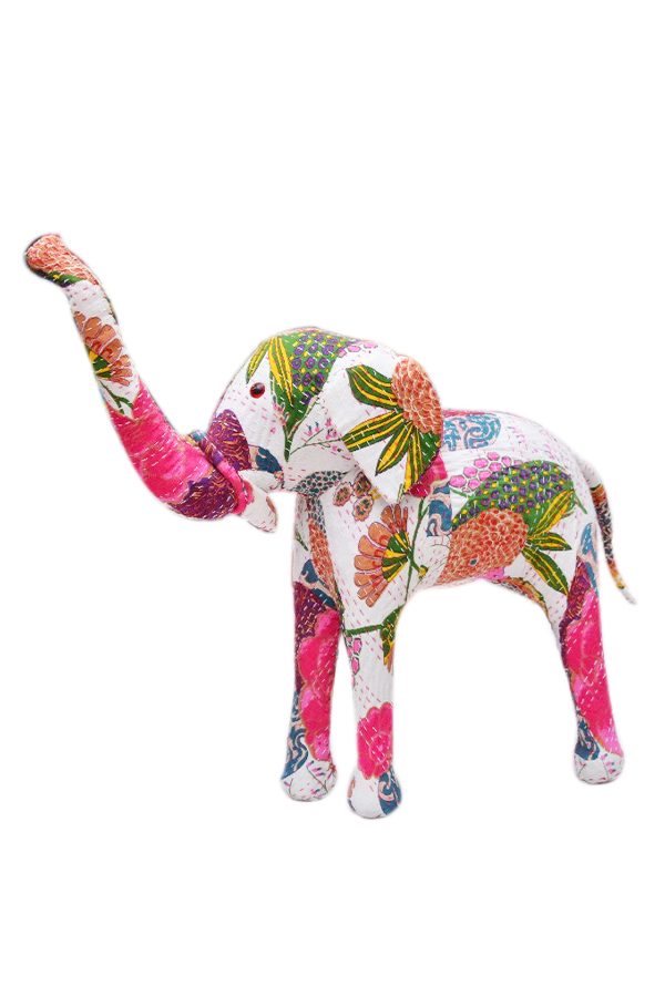 Buy Online Colorful Floral Printed Indian Handmade Elephant With Embroidery-0