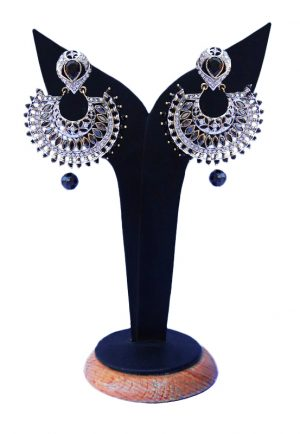 Buy Online Black and White Stone Studded Earrings with from India for Festivals-0