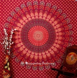 Round Hippie Mandala Tapestry Bedspread for Home in Maroon Print-0