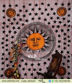 Light Brown Sun Wall Tapestry