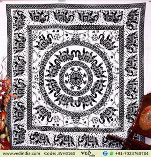 Mandala Elephant Wall Tapestry Bedspread