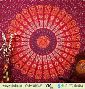 Mandala Peacock Psychedelic Indian Tapestry Bedspread in Maroon -0